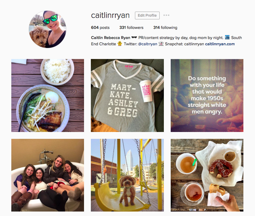 Varied and consistent Instagram account