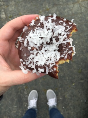 Chocolate coconut donut