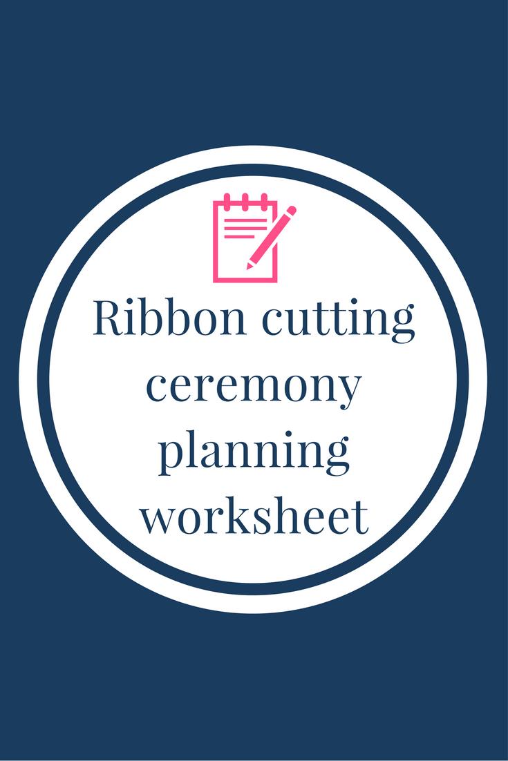 Ribbon cutting ceremony planning worksheet