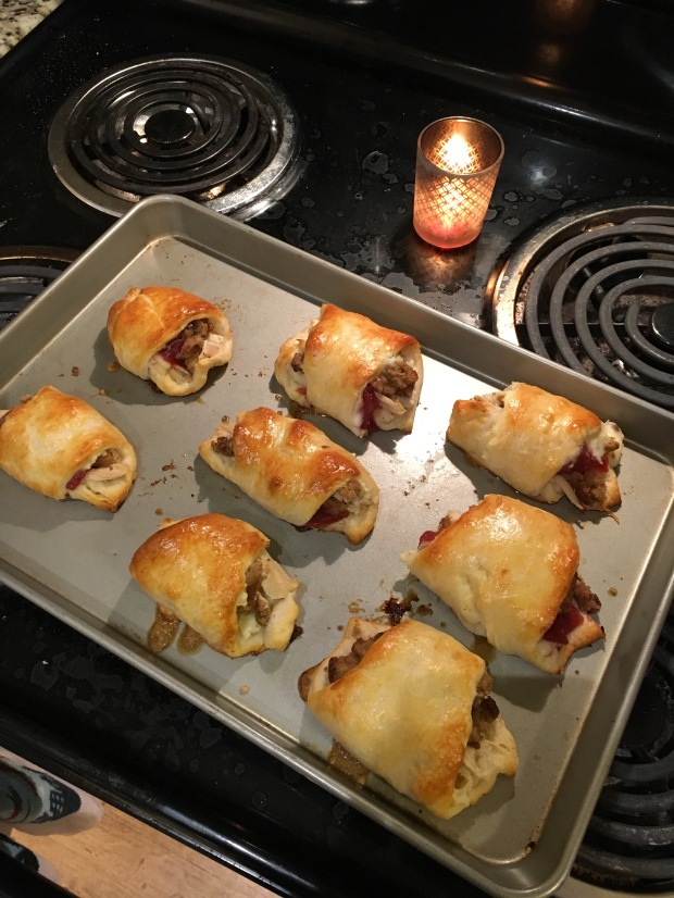 Thanksgiving leftovers in crescent rolls