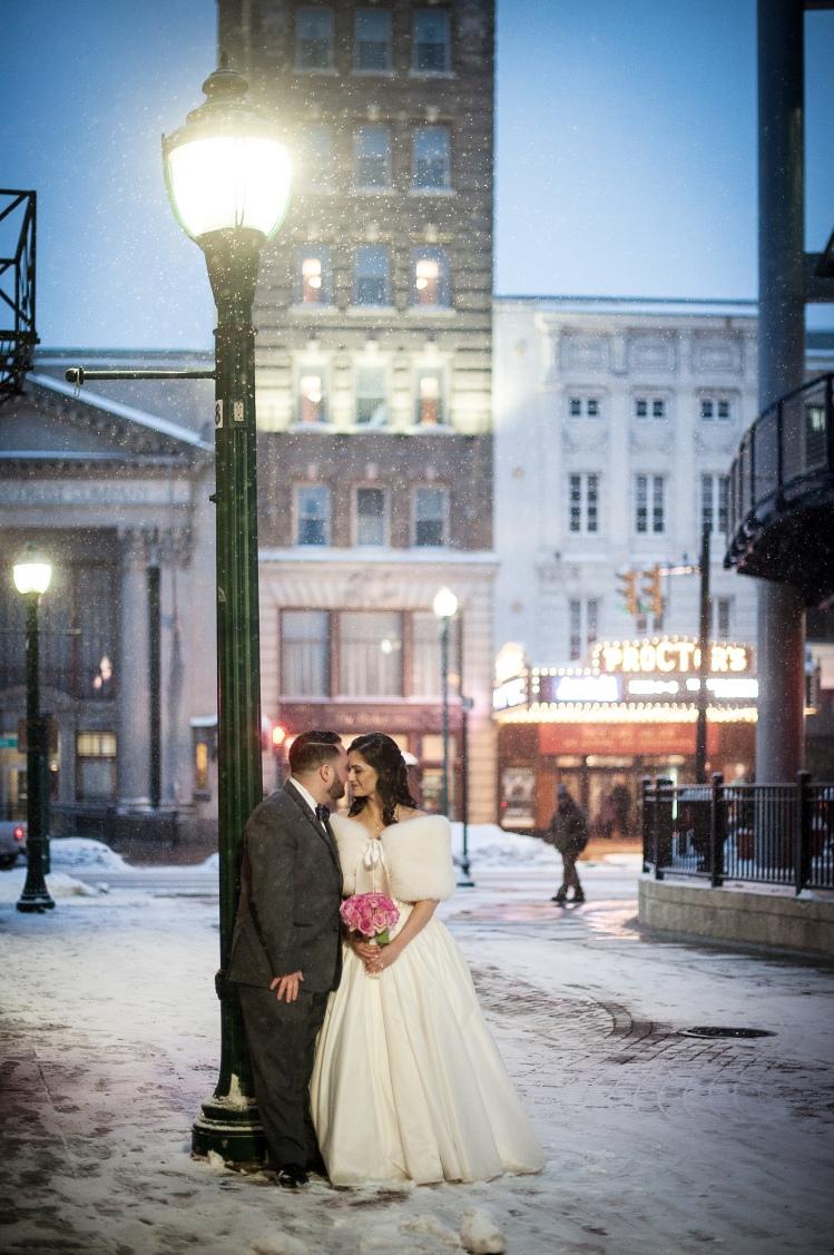 Winter city wedding