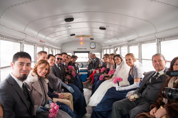 Giddy Up Bus wedding party