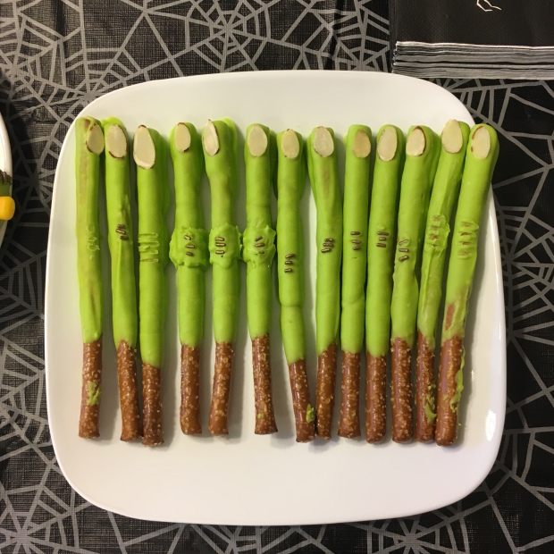 Witch finger pretzel rods